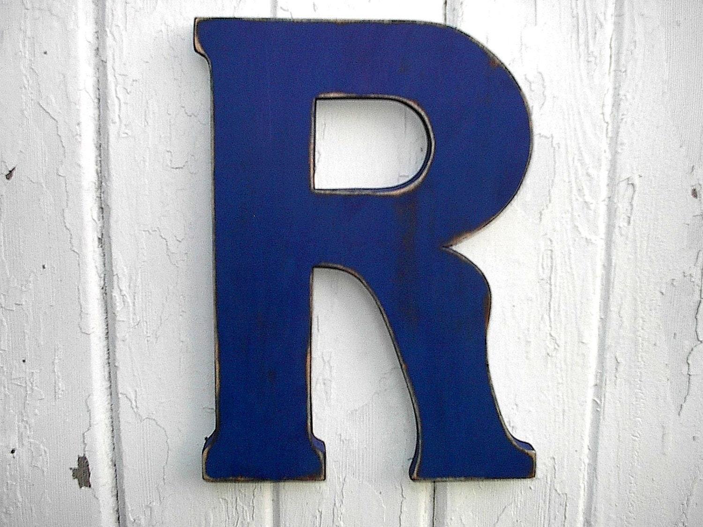 Letter R Art Rustic wooden letter r admiral