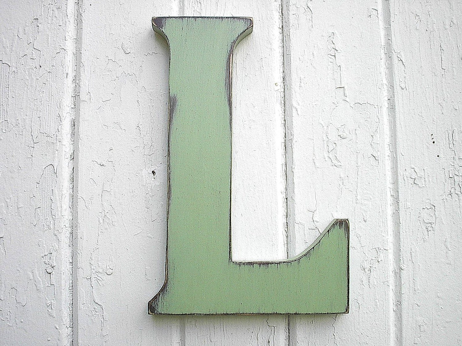 Wooden letters pale green l 12 big dorm letter kids wall - Wood letter wall decor ...