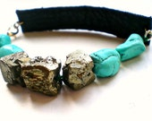 Turquoise and Pyrite Black Leather Bracelet