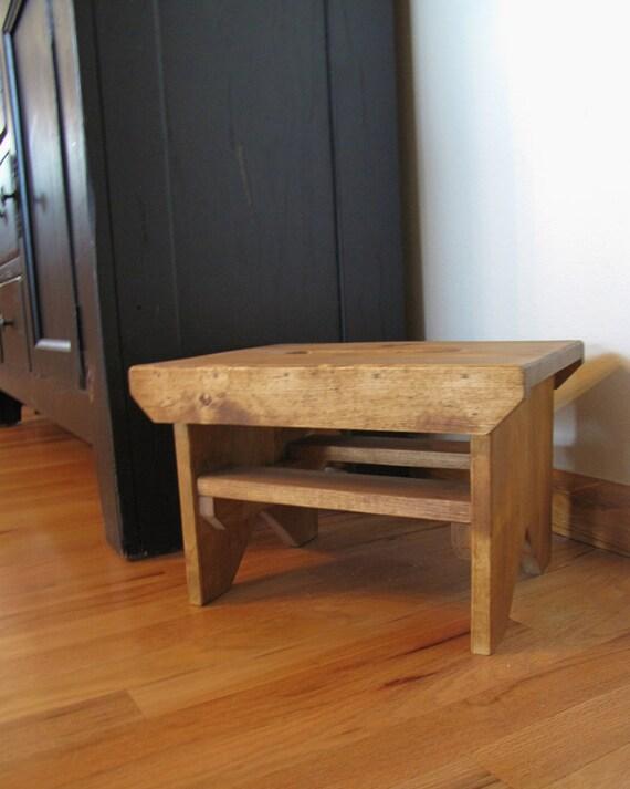 Wooden Step Stool Bedside: Step StoolGOLDEN OAKWood Step Stool Bench By BoydenWoodDesigns