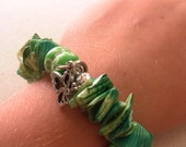 Green Shells and Silver Charms with Green Flowered Clay Beads