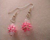 White and Pink Squishy and Foggy White Beaded Earrings