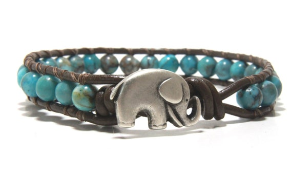 Turquoise (color) Beaded Wrap Bracelet, Leather Wrap Bracelet