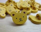 Yellow teddy bear buttons - 10 buttons