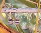 Pebble stack 'Cairn' Beach Stone Earrings.