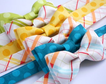 Childrens bow tie in teal, yellow, and lime dot and plaid--toddler photo prop--perfect summer bow tie