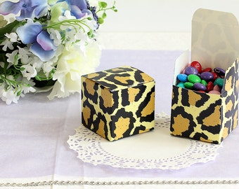 50x Leopard Wedding Favor Cube Boxes-Bridal Shower-Baby Shower-Party Favor-Candy Gift Box 2x2x2