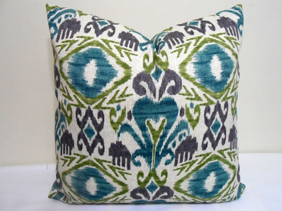 Ikat outdoor/indoor pillow cover turquoise purple lime