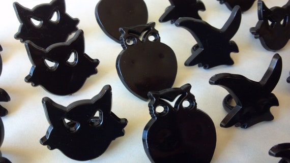 Sale Black Cat Owl Witch Cupcake Rings Picks Or Cake Toppers