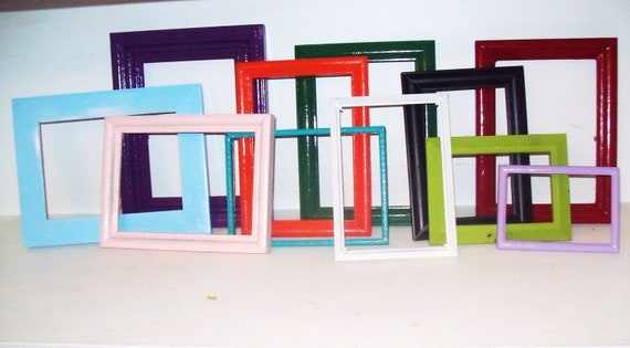 picture frames shabby chic Set of 10 custom painted made to order recycled picture frames