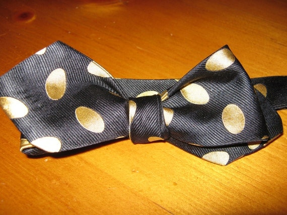 Beau Regards BLACK GOLD large polka dot  silk men's bow tie, made from repurposed standard ties, guaranteed one of a kind