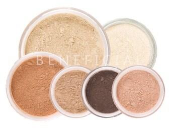 SUMMER GLOW Mineral Makeup Kit - Pure Natural Vegan Minerals - 8 Piece Set