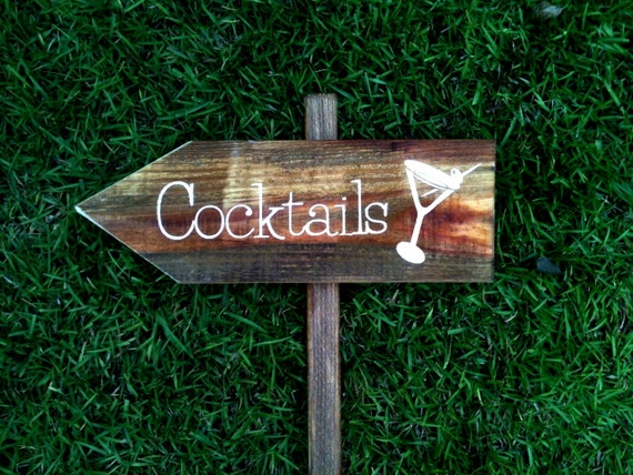 Reception Wedding Sign - Cocktails made from reclaimed wood WS-23