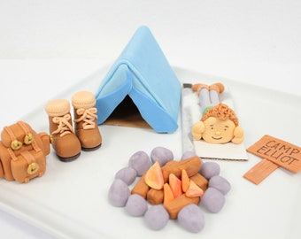 Fondant Camping Set with boots, campfire, backpack-  boy, tent, name sign, number, camp fire,