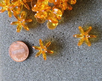 Vintage 50 Transparent  Orange Star Starburst,Cartwheels, Snowflakes, Sunburst, Acrylic Beads