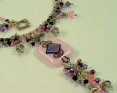 "MAJOR MARKDOWN - Pink ""Queen's Cascade"" - 19 1/2"" Fully Beaded Dichroic Fused Glass Statement Necklace"