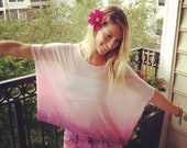 Boho Dip Dyed Doleman Top with Lace Back