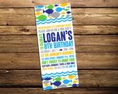 Super cute, modern & fresh boy's goldfish or pool party birthday invitation
