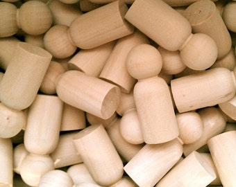 50 Wooden Little People - Wood Peg Dad Husband 2.375 Inch - Woodworking Craft Party Supplies