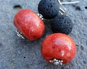 Black Lava, Coral and Sterling Silver Earrings - Natural Stone