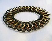 Gold and copper stretch chainmail bracelet