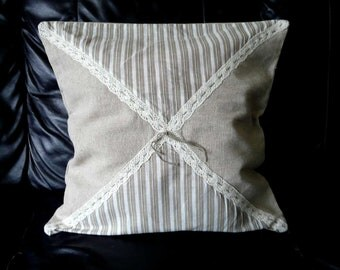 Handmade pair (two) burlap cotton cushion covers shabby chic