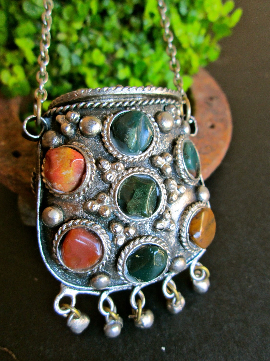 Vintage Necklace Pouch Bohemian Jewelry By Lemonrosestudio