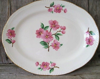 Vintage Serving Plate, Homer Laughlin Apple Blossom Liberty Pattern, Pink Flowers Gold Trim, Vintage Oval Serving Platter
