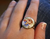 French Limoges China Flower Floral Ring