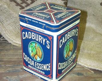 Cadbury Tin Cadbury Cocoa Essence Tin Rustic Blue Tin