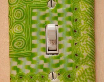Spring green and glow in the dark exquisite polymer clay switchplate