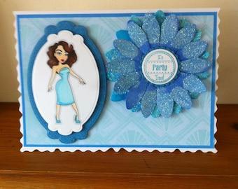 Handmade A5 Size Birthday/Celerbration/Prom Card With Sassy Design Digi Image