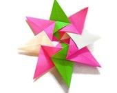 Pink and Green Origami Kalami Star (Designed by Christine Blasek)