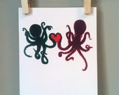 VALENTINES DAY Octopus Love Romantic Greeting Card- Prints Copy