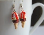 Neapolitan Ice Cream Earrings, Strawberry Sauce, Silver Plated, Polymer Clay