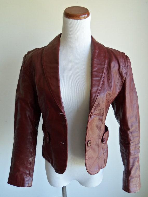 SALE Vintage 1970's Red Burgandy Cropped Skinny Leather Jacket, Berman's