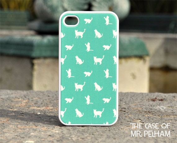 iPhone Case - Cat Pattern on Mint Green