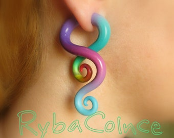 Fake ear gauge / Faux gauge/Gauge earrings / fake piercing  Space