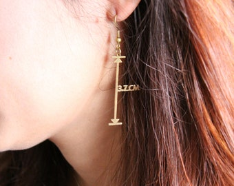 How long is it  Measurement Vector Earrings - Mathematical Geometric Arrow Brass - Hand Craft