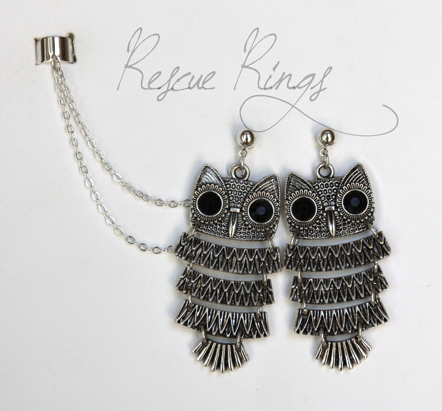 Ear Cuff Earrings With Chain http://www.etsy.com/listing/108360901/owl-double-chain-ear-cuff-earrings