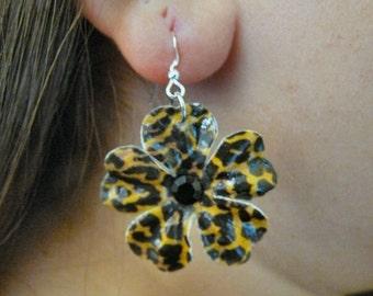 Jaguar Print Paper Flower Earrings with Black Rhinestone Centers