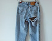 Vintage 1990's LEVIS 501, Distressed, Button Fly,  Red Tab, High Waist, Women's Size 28 Waist