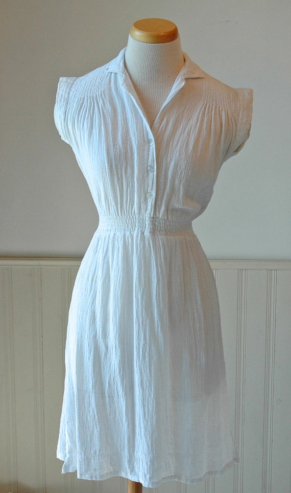 Vintage 1970's/1980's Beach Cover Up, White, Stretch Cotton, Women's/Ladies Size X-Small to Small