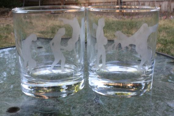 11.2 oz Hand etched Big Lebowski evolution rock glasses - Set of two glasses