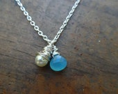 Messy Style Wire Wrapped Aqua Chalcedony Briolette Necklace