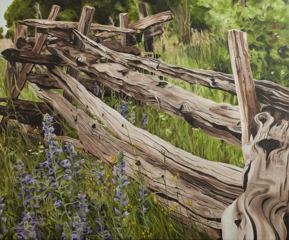 Limited Edition Print on Canvas - Split Rail Fence
