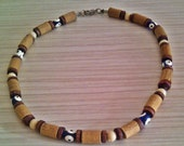 Handmade Wood Beads and Evil Eye Beads Necklace