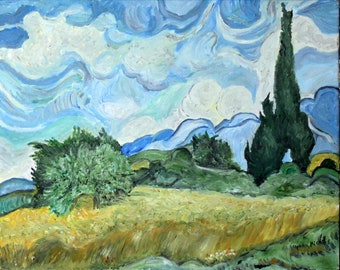 Replica of Van Gogh's Wheatfield with cypress tree - 100% hand painted oil on canvas