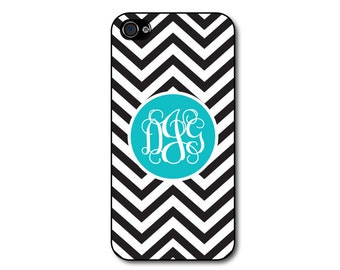 Personalized phone case -iphone 4 case, iphone 5 case - black and white chevrons, aqua monogram