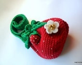 girl handbag, crocheted strawberry handbag, red-green handbag with long handle for girl